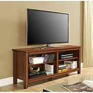 WE Furniture Wood Veneer TV Stand, 58″, Rustic Brown