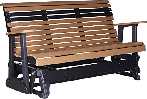 Outdoor Polywood 5 Foot Porch Glider – Plain Rollback Design *CEDAR/BLACK* Color
