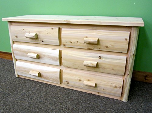 Midwest Log Furniture – Premium Log Dresser – 6 Drawer