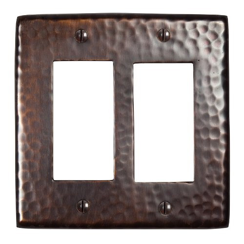The Copper Factory CF124AN Solid Hammered Copper Double GFCI Plate, Antique Copper Finish