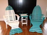 Poly Fish Adirondack Chair Pair Set with Ottomans and Side Table *12 Colors* – Aruba Blue – Amish Made in USA