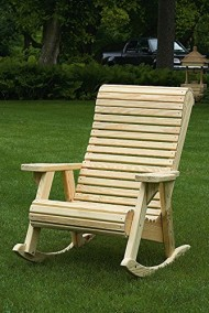 Pressure Treated Pine Unfinished Outdoor High Comfort Roll Back Rocker