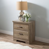 South Shore Versa 2-Drawer Nightstand, Weathered Oak