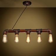 Permo Vintage Rustic Industrial Steampunk Straight Tube Water Pipes Pendant Hanging Ceiling Bar Light (Brown)