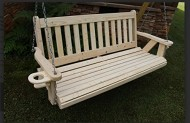 Amish Heavy Duty 700 Lb 4 Ft. Mission Style Porch Swing with Cupholders – Made in USA
