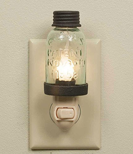Mini Mason Jar Night Light in Rustic Brown Metal Color