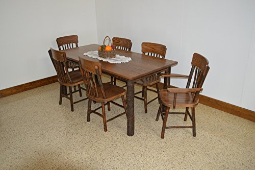 Rustic Hickory & Oak 5′ Farm Table with 6 Chairs *Walnut Stain* Amish Made USA