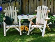 Lakeland Mills CFU329 Cedar Log Vista Tete Outdoor Chairs, Natural