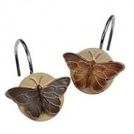 Ayygiftideas 12 PCS Stainless Steel Shower Curtain Hooks Retro Butterfly Hooks Design Crooks