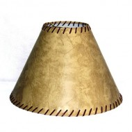 Lamp Factory A61511-FLS A Ray Of Light Medium Rustic Rawhide Stitched Large Faux Leather Lamp Shade
