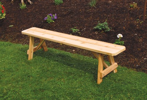 Outdoor 6 Foot Traditional Pine Picnic BENCH ONLY – PAINTED- Amish Made USA -Tractor Red