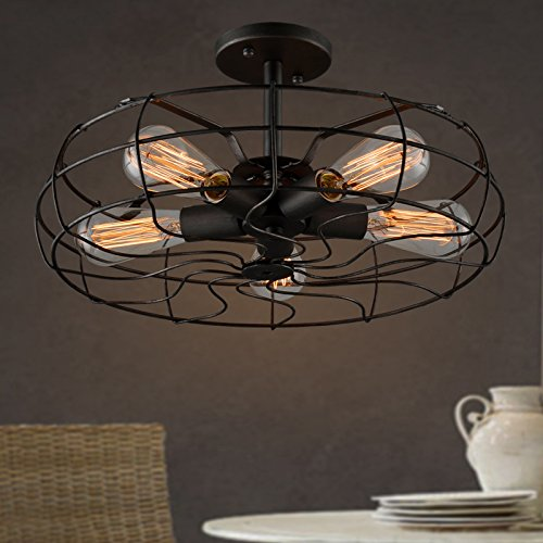 Electro_BP; Vintage Style Metal Art Ceiling Light Max 300W With 5 Lights Painted Finish
