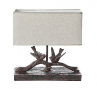 Creative Co-op Resin Bird Lamp, Dark Brown / Taupe