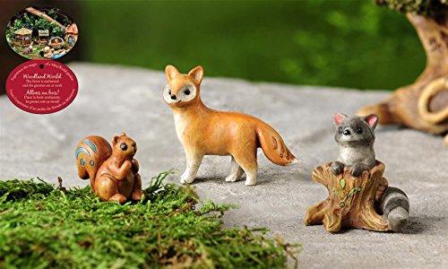 Minature Fairy Garden 3 Piece Wild Animals Fox Racoon Rustic Mini Statue Dollhouse Accent