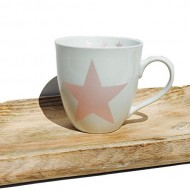 The Cape Cod Rustic Pink Star Mug, 16 Ounces, Porcelain, 4 3/8″ Tall, By Whole House Worlds
