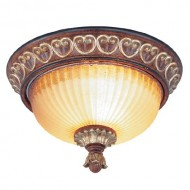 Livex Lighting 8562-63 Villa Verona 2 Light Verona Bronze Finish Flush Mount with Aged Gold Leaf Accents and Rustic Art Glass