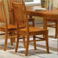Set of 2 Dining Chairs Mission Style Medium Brown Finish