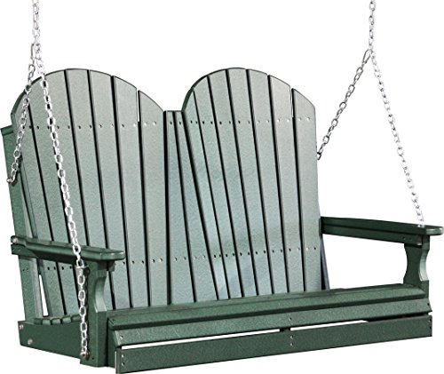 Outdoor Polywood 4 Foot Porch Swing – Adirondack Design *GREEN* Color