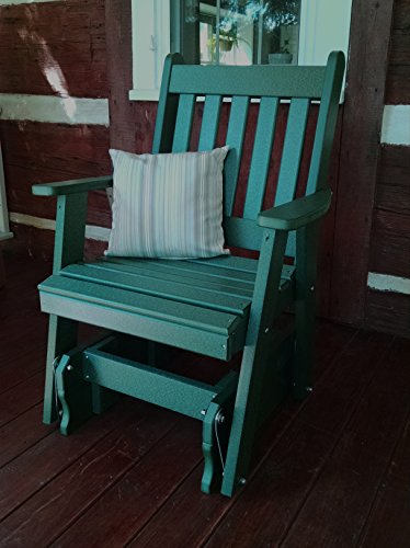 Outdoor POLY Traditional English Gliding Chair – Amish Made USA -Aruba Blue