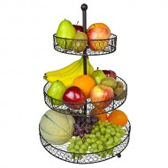 3 Tier Country Rustic Chicken Wire Style Metal Fruit Baskets / Kitchen Storage Organizer Rack – MyGift®