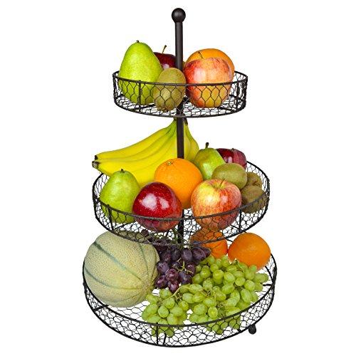 3 Tier Country Rustic Chicken Wire Style Metal Fruit Baskets / Kitchen Storage Organizer Rack – MyGift®