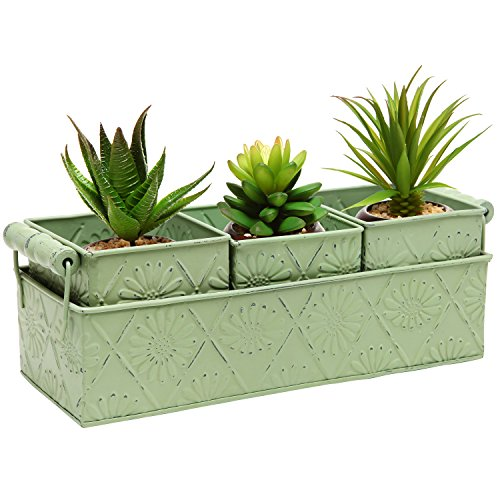 MyGift Metal Floral Design Country Rustic Style Home Garden Planter Box Tray w/ 3 Containers – Green