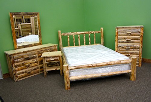 Midwest Log Furniture – Rustic Log Bedroom Suite – Twin – 5pc