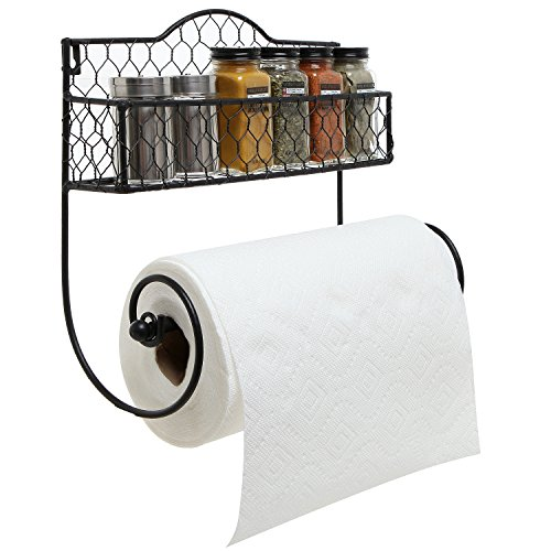 Wall Mounted Rustic Black Metal Kitchen Spice Rack & Paper Towel Holder / Bathroom Basket & Towel Bar