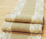 Natural Burlap Table Runner with Lace Wedding Decor Rustic Shabby Chic Hessian Jute Outdoor Party Between (Length: 94″)