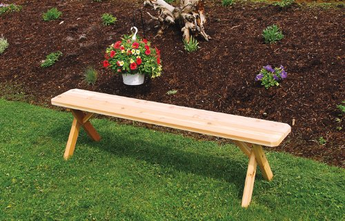 Outdoor 2 Foot Cross Leg Pine Picnic BENCH ONLY *Unfinished * Amish Made USA