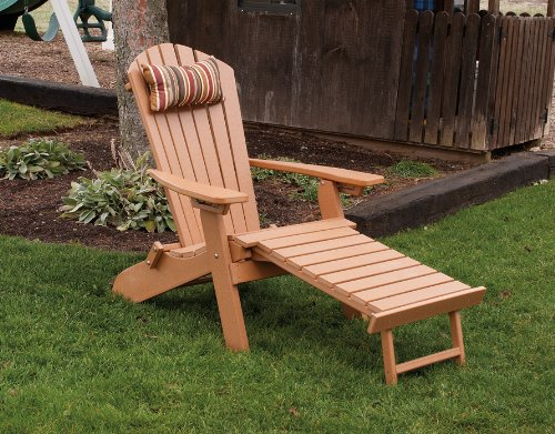 POLY Folding & Reclining Adirondack Chair w/ Attached Ottoman – Amish Made USA – Bright White