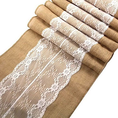 Ling's Bridal 12″x108″ Burlap Lace Hessian Table Runner Jute Wedding Party Table Decoration (1) by Ling's Bridal