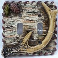 Lodge Rustic Decor Antler Pinecone Tree Bark Double Light Switch Plate Covers