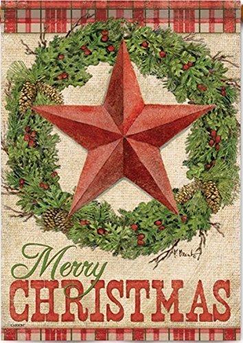 """Carson – """"Rustic Christmas"""" 28″X40″ Merry Christmas Wreath, Star House Flag"""